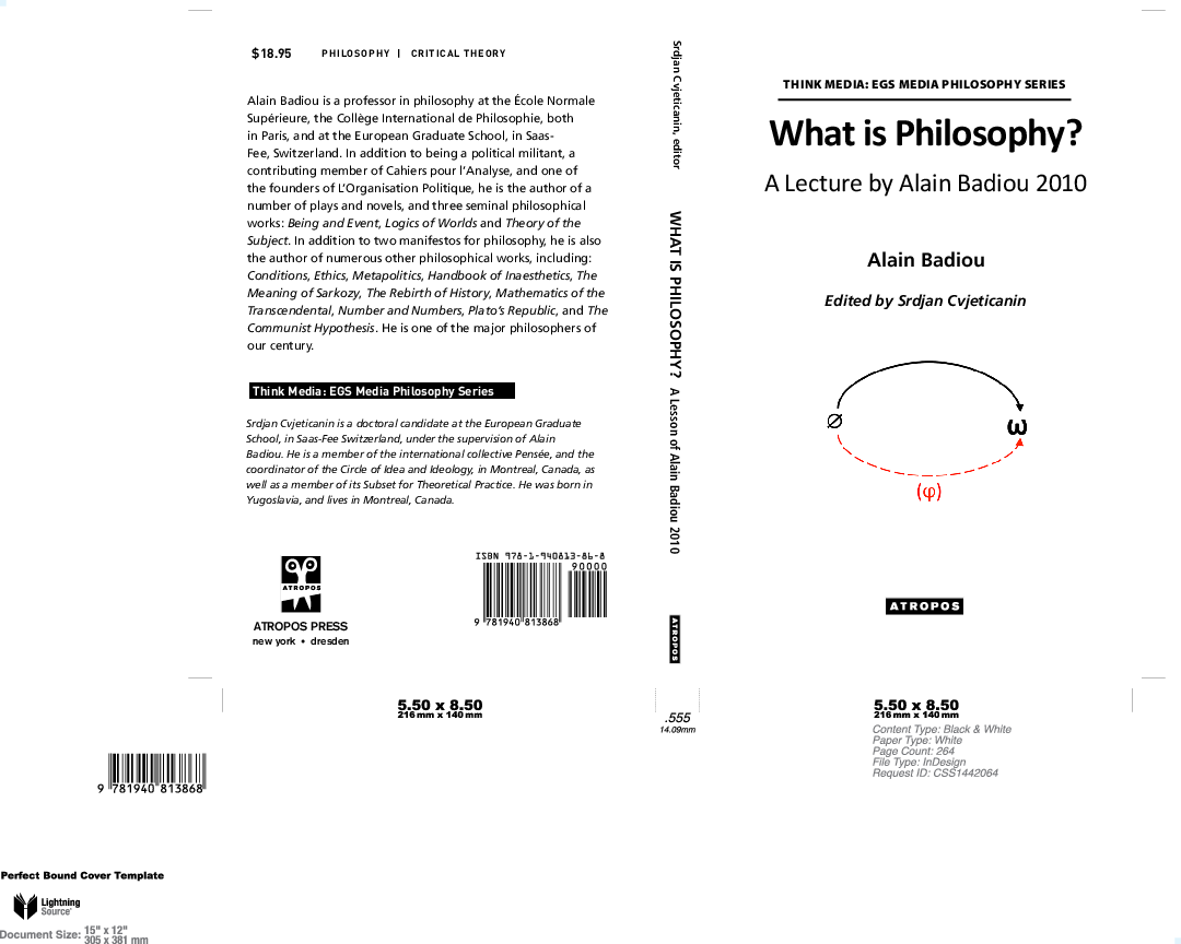 PDF) What is Philosophy: a lecture by Alain Badiou | Srdjan