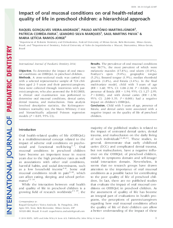 PDF) Impact of oral mucosal conditions on oral health