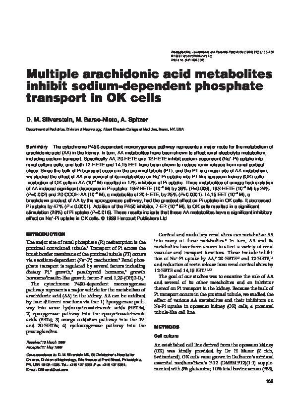 PDF) Multiple arachidonic acid metabolites inhibit sodium