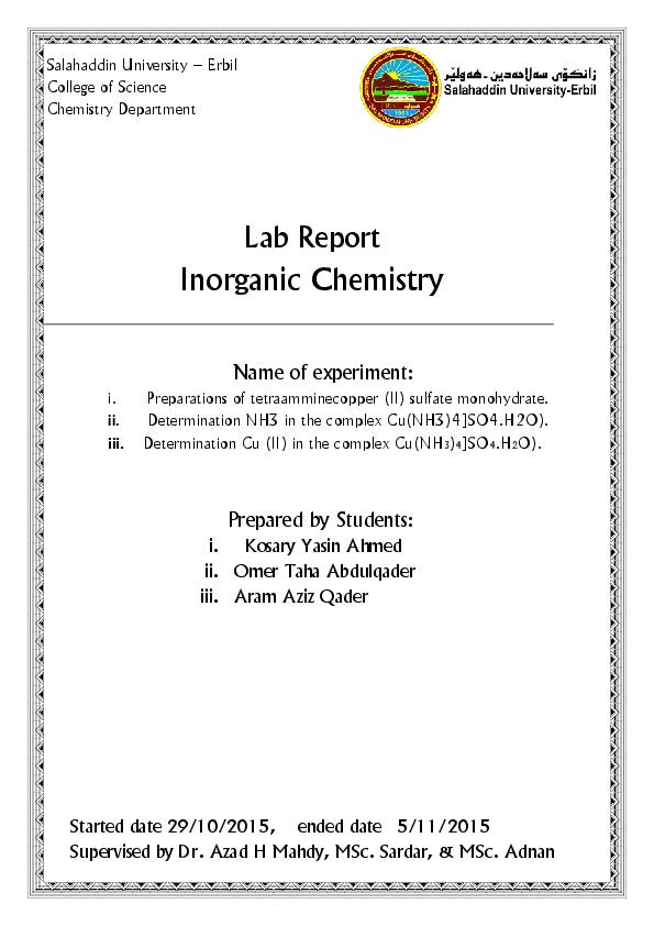 PDF) Preparations of tetraamminecopper (II) sulfate