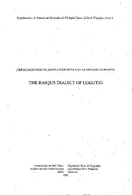PDF) The Basque dialect of Lekeitio | Gorka Elordieta and