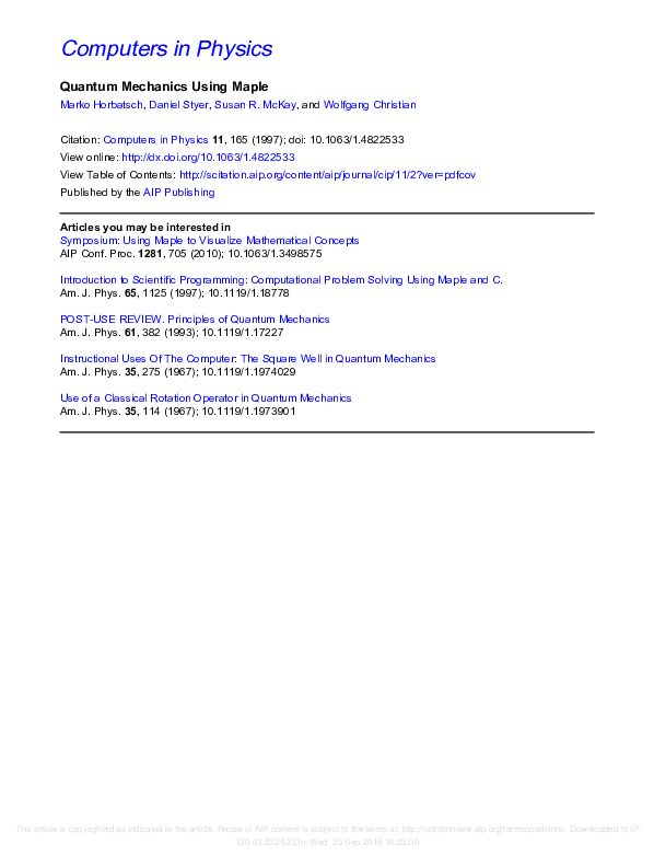 PDF) Quantum Mechanics Using Maple® | Wolfgang Christian - Academia edu