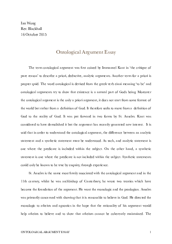 Ontological argument essay employment equity thesis