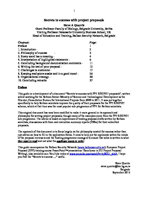 PDF) Secrets to success with project proposals | Steve