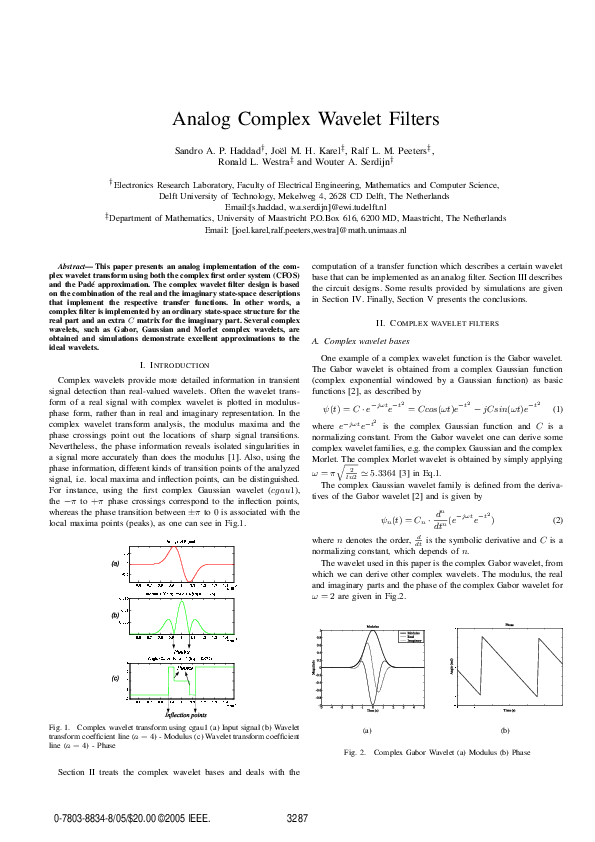 PDF) Analog Complex Wavelet Filters | Ronald Westra - Academia edu