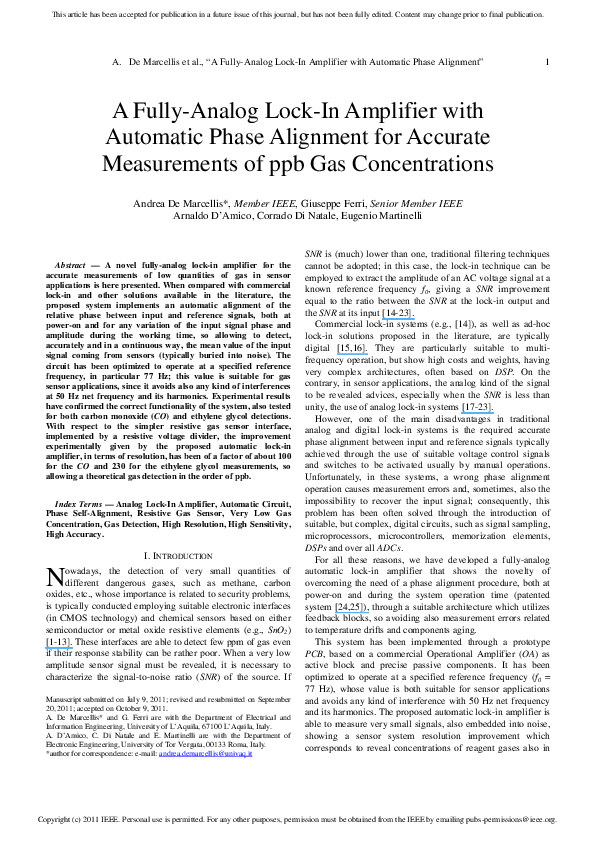 PDF) A Fully-Analog Lock-In Amplifier With Automatic Phase