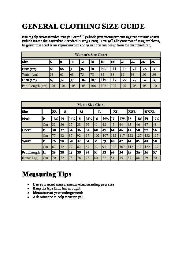 7d762e36b0b4 PDF) GENERAL CLOTHING SIZE GUIDE