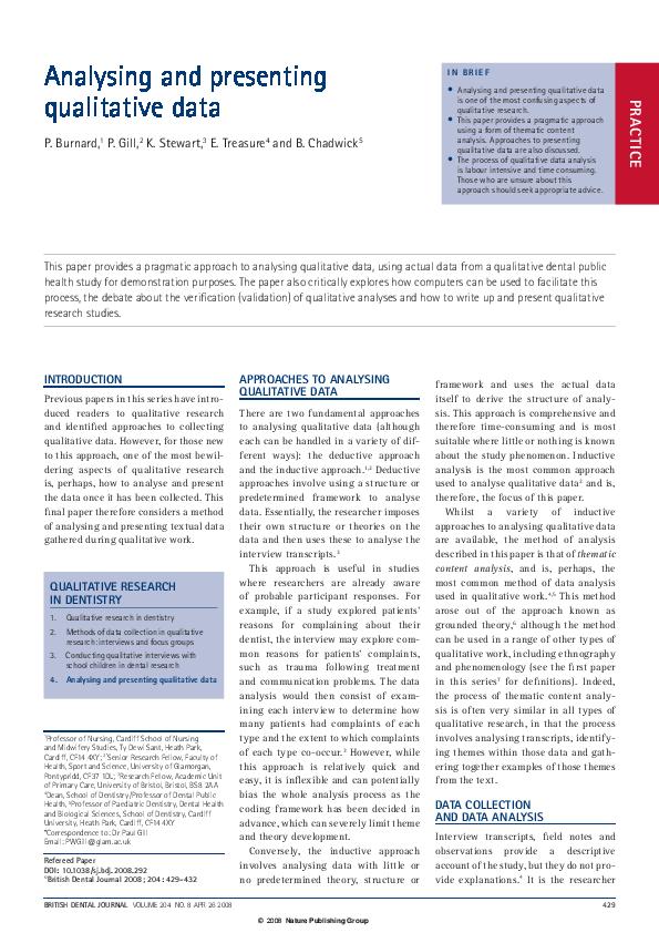Sample Quanative Ysis | Analysing And Presenting Qualitative Data Paul Gill Academia Edu
