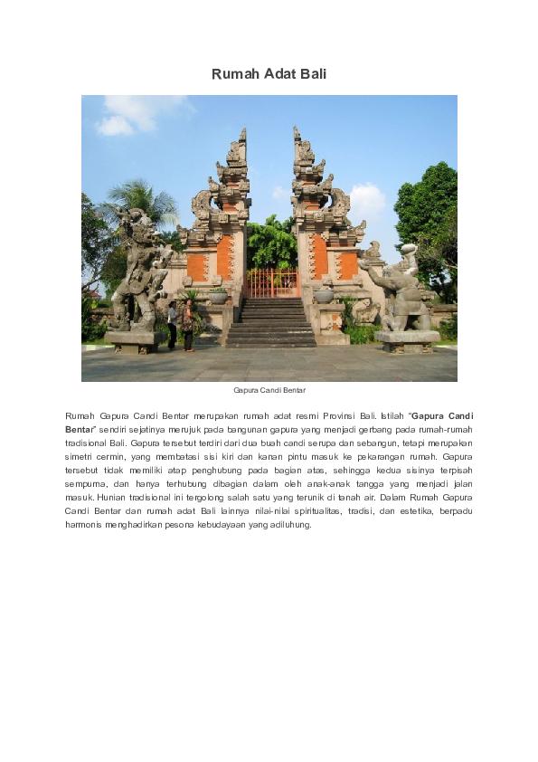 Rumah Adat Gapura Candi Bentar Berasal Dari Daerah Rumah Adat Bali Gapura Candi Bentar