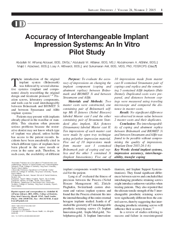 PDF) Accuracy of Interchangeable Implant Impression Systems