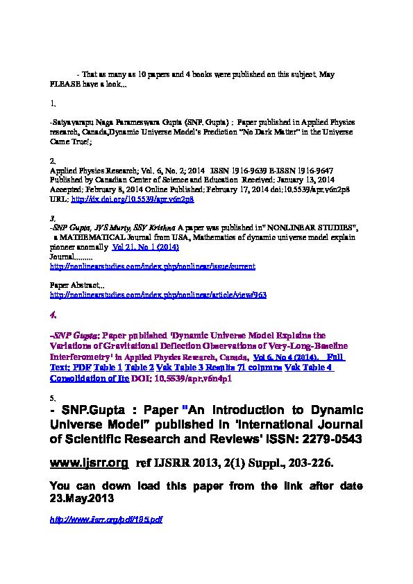 DOC) Mathematics of Dynamic Universe Model explain Pioneer Anomaly