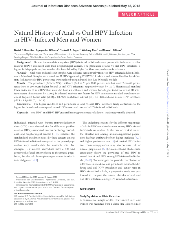 PDF) Natural History of Anal vs Oral HPV Infection in HIV