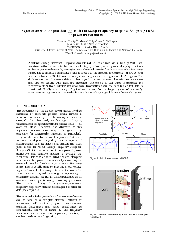 Pdf Experiences With The Practical Application Of Sweep Frequency Response Analysis Sfra On Power Transformers Michael Kruger Academia Edu