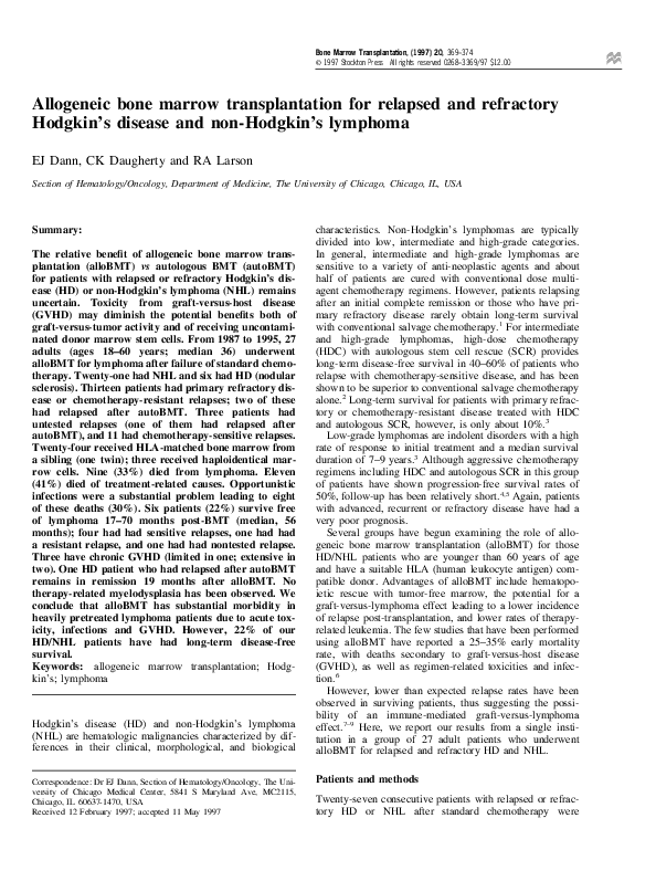 PDF) Allogeneic bone marrow transplantation for relapsed and
