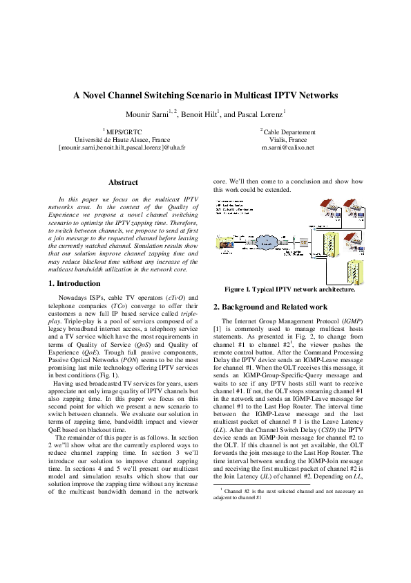 A Novel Channel Switching Scenario in Multicast IPTV Networks