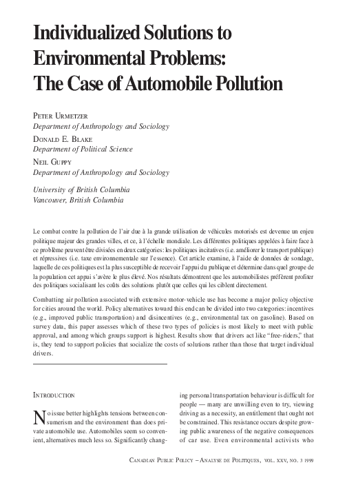 PDF) Individualized Solutions to Environmental Problems: The