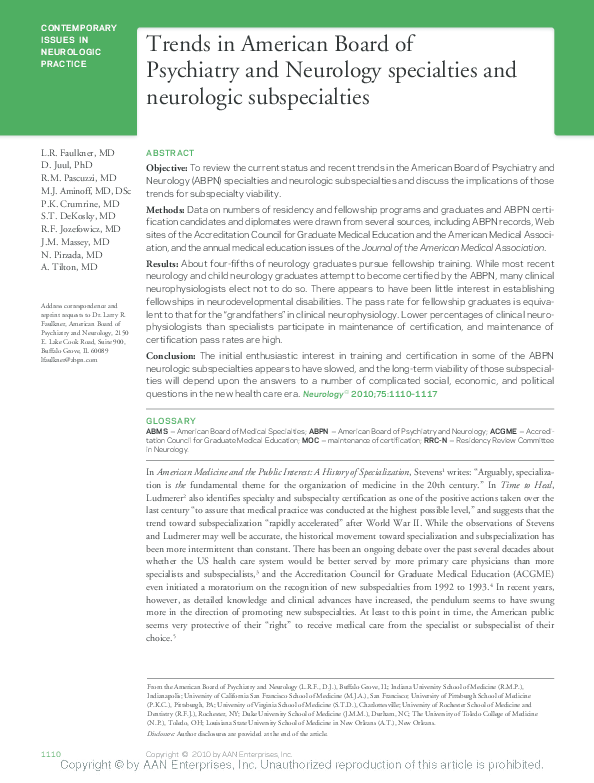 PDF) Trends in American Board of Psychiatry and Neurology