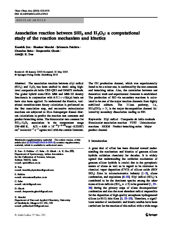 PDF) Association reaction between SiH3 and H2O2: a