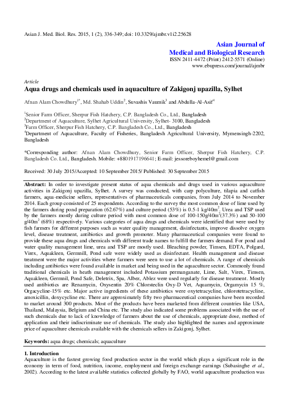 PDF) Aqua drugs and chemicals used in aquaculture of Zakigonj