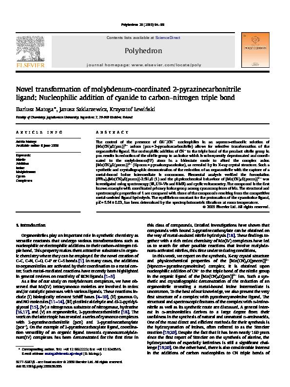Pdf Novel Transformation Of Molybdenum Coordinated 2 Pyrazinecarbonitrile Ligand Nucleophilic Addition Of Cyanide To Carbon Nitrogen Triple Bond Janusz Szklarzewicz And Krzysztof Lewinski Academia Edu