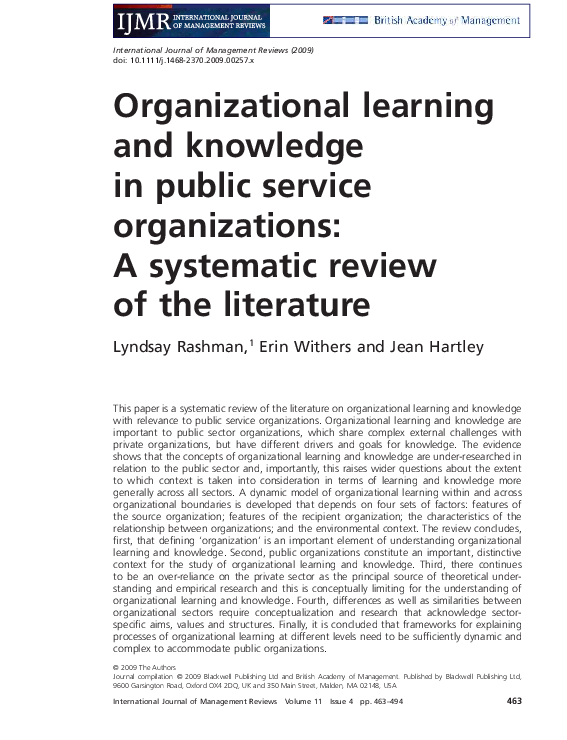 PDF) Organizational learning and knowledge in public service