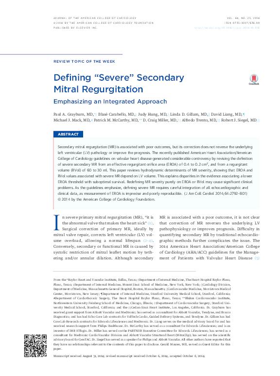"""PDF) Defining """"Severe"""" Secondary Mitral Regurgitation"""