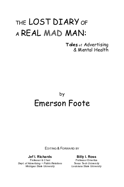 PDF) The Lost Diary of a Real MAD Man: Tales of Advertising