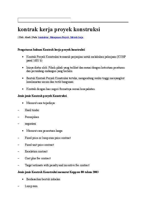 Doc Kontrak Kerja Proyek Konstruksi Reni Tyas Academia Edu