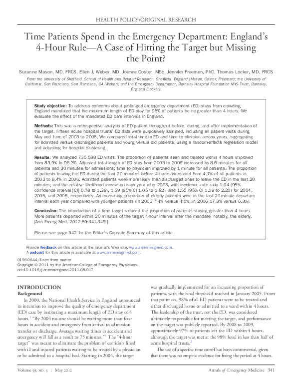 PDF) Time Patients Spend in the Emergency Department
