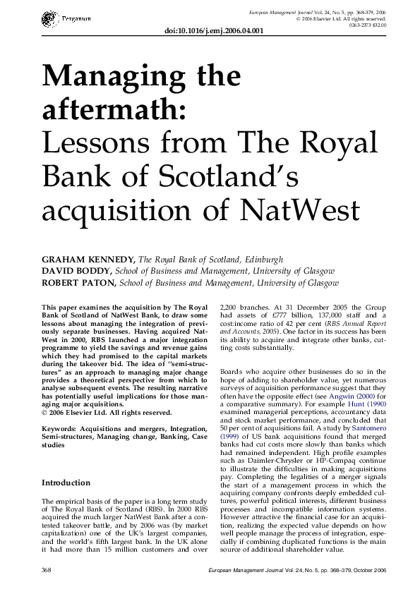 PDF) Managing the aftermath:: Lessons from The Royal Bank of