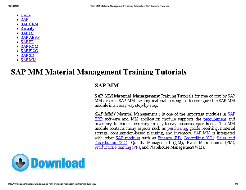 PDF) SAP MM Material Management Training Tutorials SAP