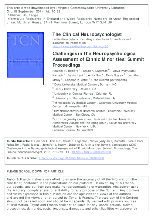 PDF) Challenges in the Neuropsychological Assessment of Ethnic