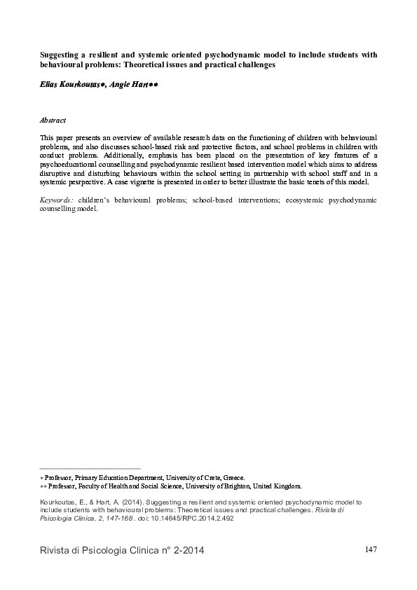 PDF) Kourkoutas, E  & Hart  A  (2014)  Suggesting a resilient and