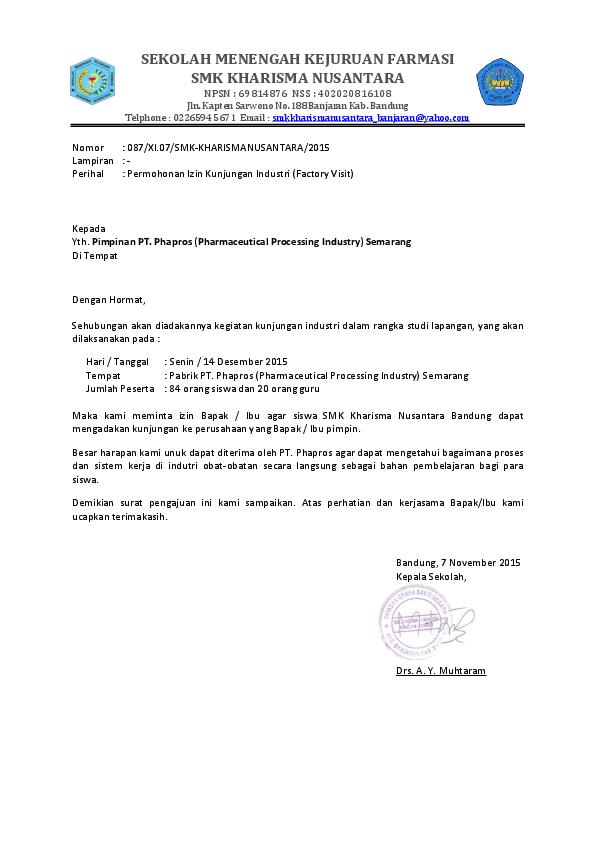 Pdf Surat Izin Kunjungan Industri Pt Phapros Semarang Ojo