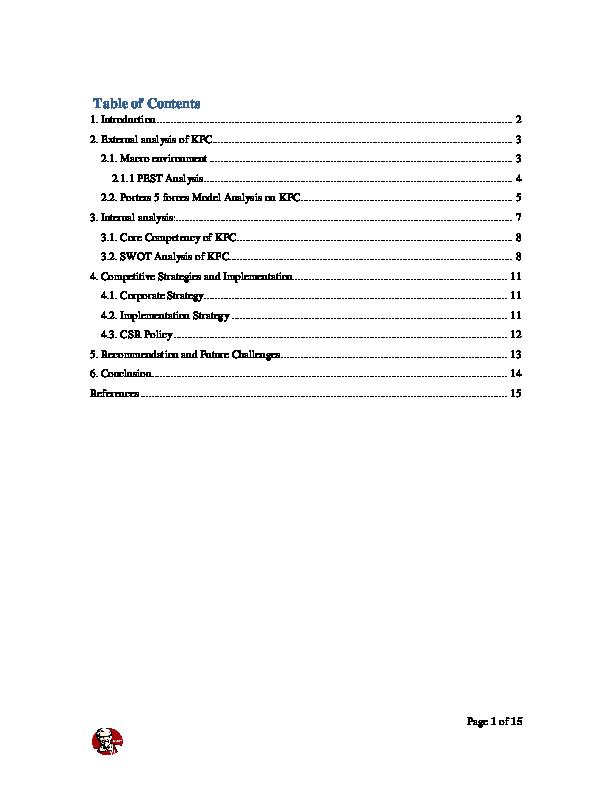 kfc policy