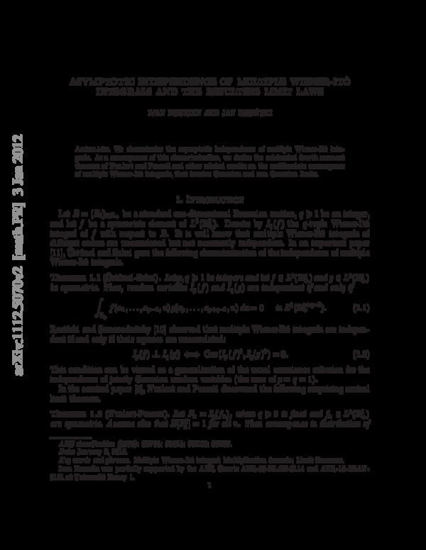 PDF) Asymptotic independence of multiple Wiener–Itô