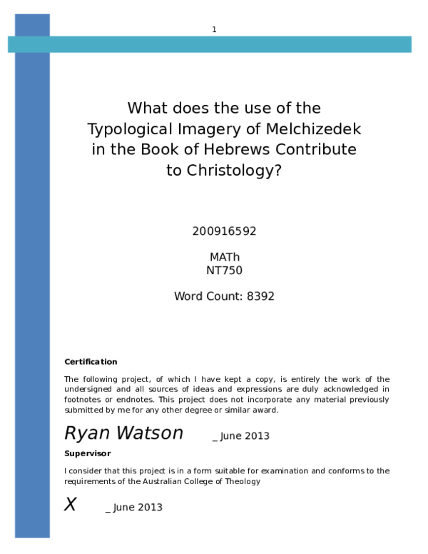 DOC) The Typology of Melchizedek and Christology of Hebrews 8-10