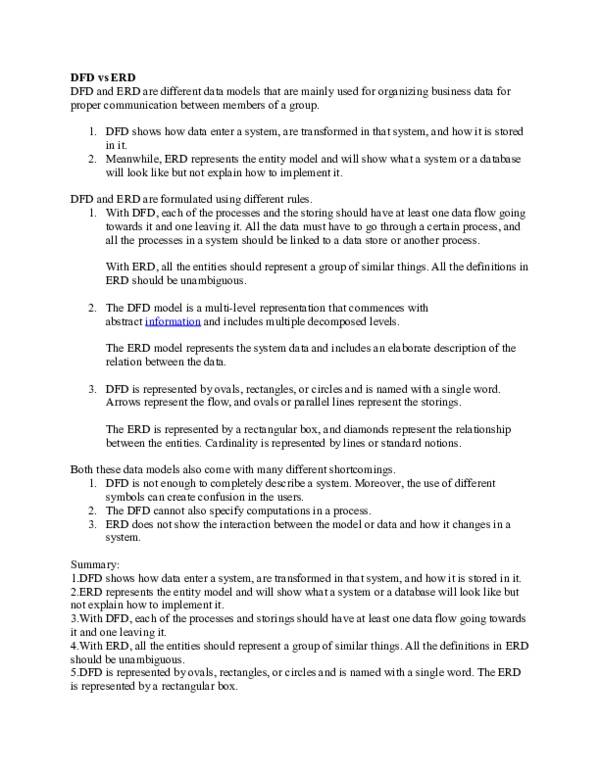 difference between dfd and er diagram