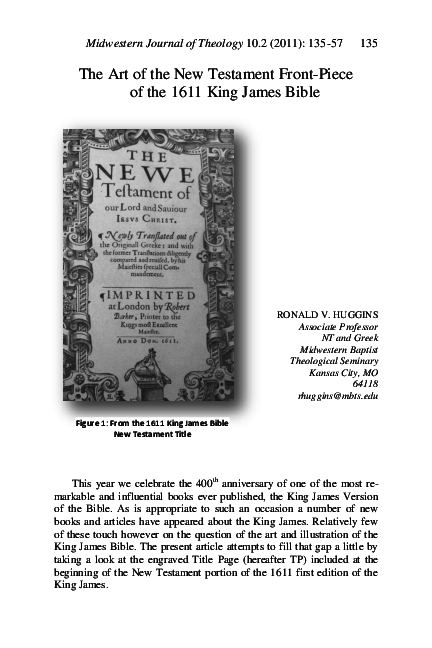 PDF) The Art of the New Testament Front-piece of the 1611