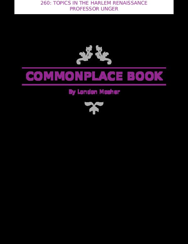 6d85e4df3cdb Commonplace Book  Reflection on Harlem Renaissance Literature ...