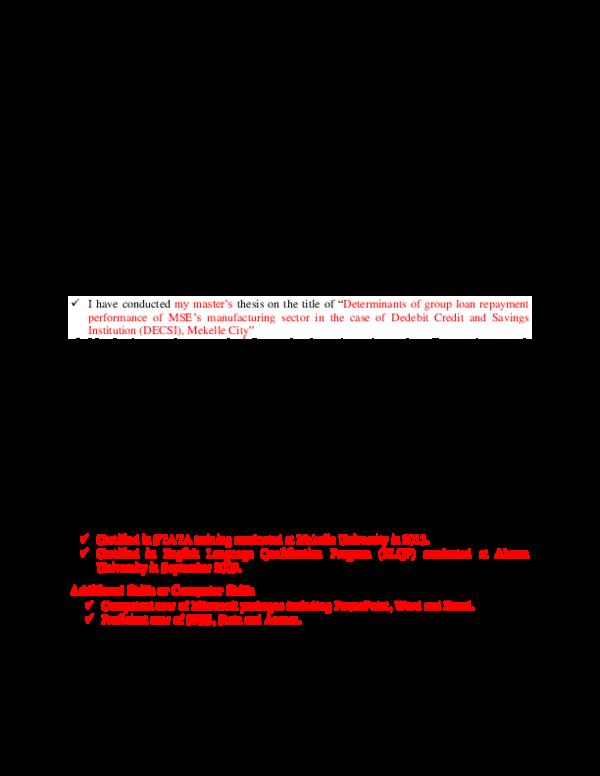 PDF) Academic CV | melese mengistu - Academia edu