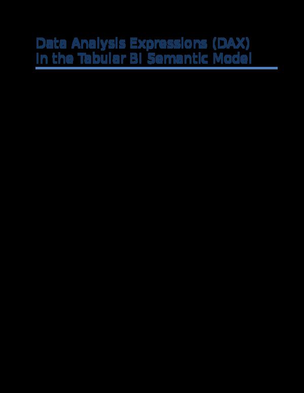 DOC) DAX in the BI Tabular Model   Thang Khong - Academia edu