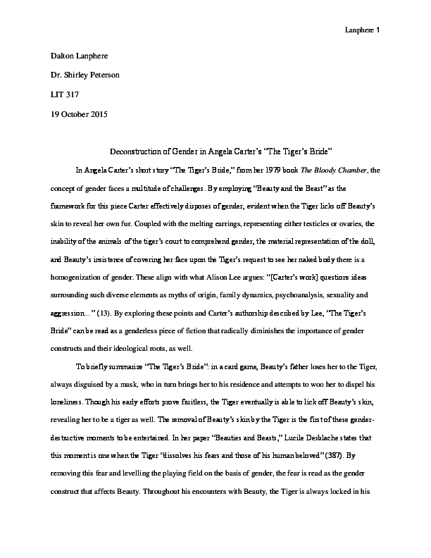 "PDF) Deconstruction of Gender in Angela Carter's ""The"