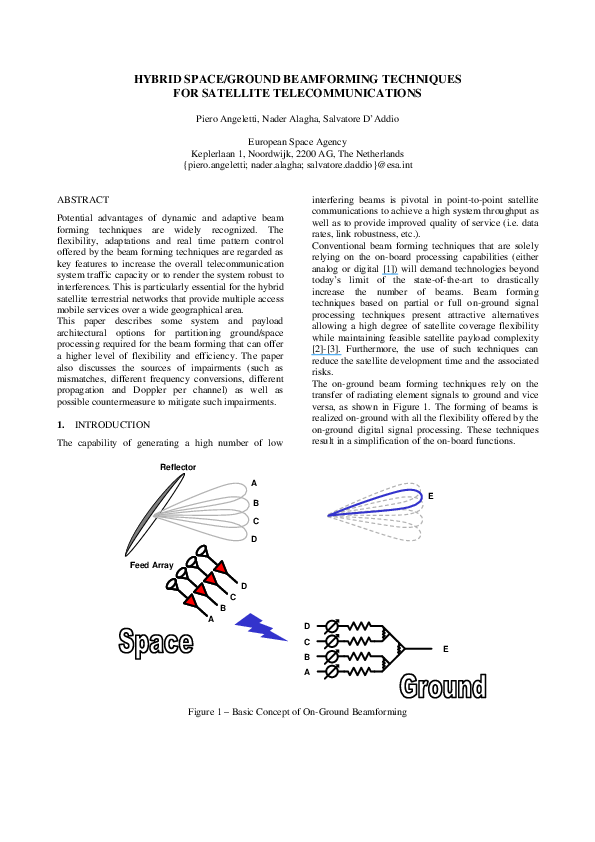 PDF) Hybrid space/ground beamforming techniques for
