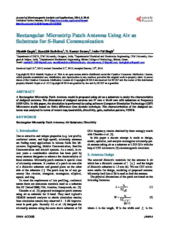PDF) Rectangular Microstrip Patch Antenna Using Air as
