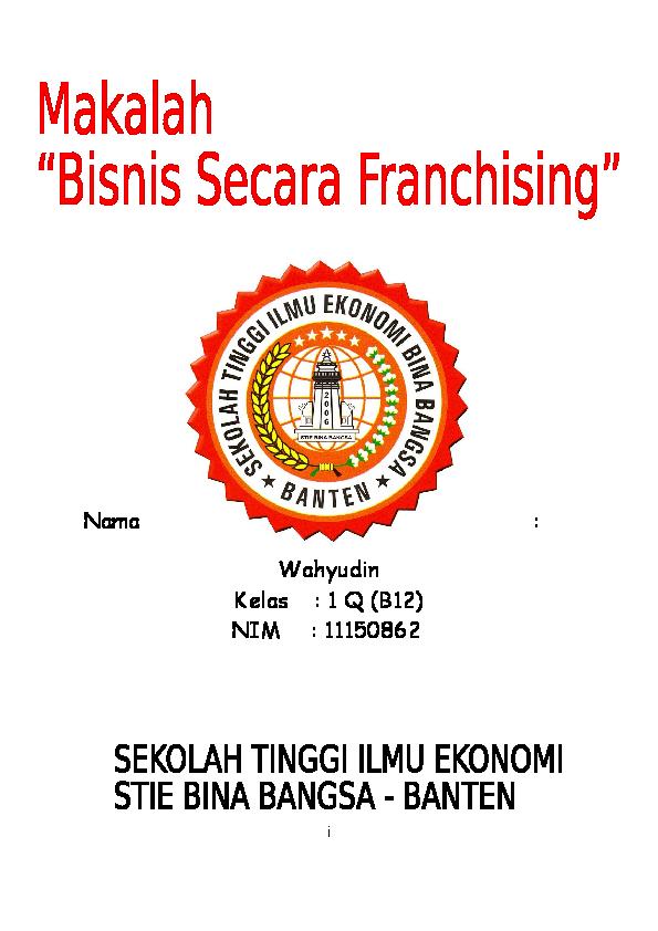 Doc Makalah Waralaba Pengantar Bisnis Wahyu Pratama Academia Edu
