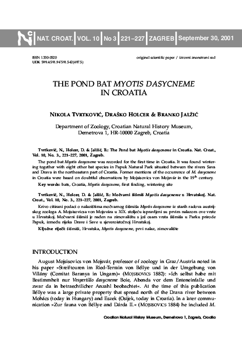 c297286225 PDF) The pond bat Myotis dasycneme in Croatia