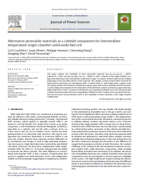 PDF) Alternative perovskite materials as a cathode component