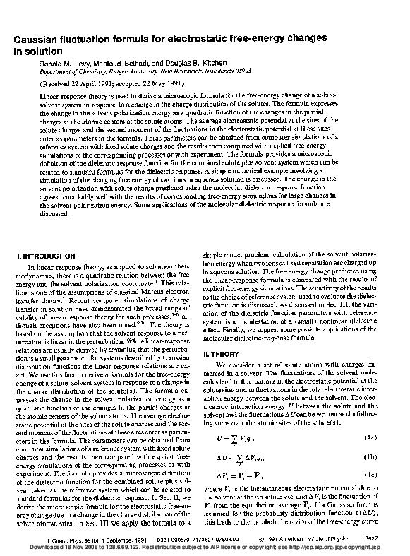 PDF) Gaussian fluctuation formula for electrostatic free-energy