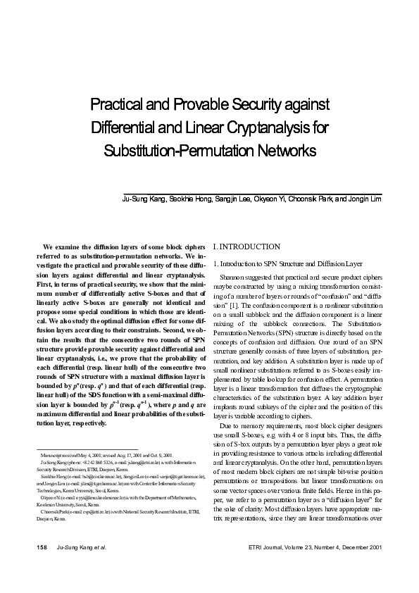 PDF) Practical and Provable Security against Differential